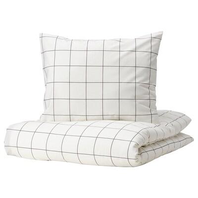 VITKLÖVER Pussilakana + 1 tyynyliina, valkoinen musta/ruutu, 150x200/50x60 cm
