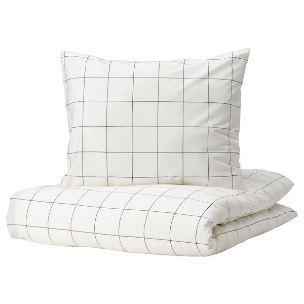 VITKLÖVER Pussilakana ja tyynyliina, valkoinen musta/ruutu, 150x200/50x60 cm