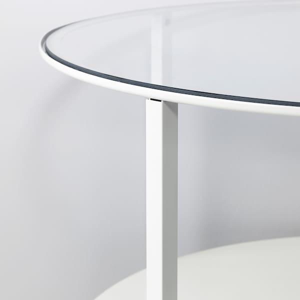 VITTSJÖ Sohvapöytä, valkoinen/lasi, 75 cm