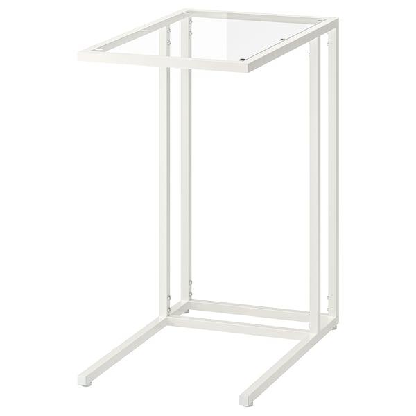 VITTSJÖ Tietokonepöytä, valkoinen/lasi, 35x65 cm