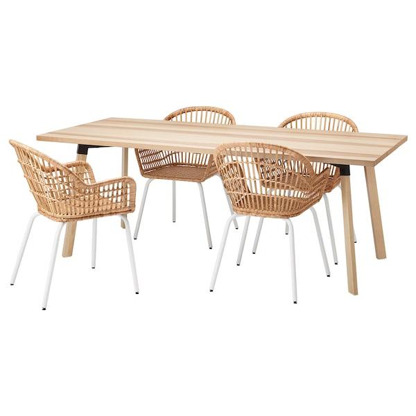 YPPERLIG / NILSOVE Pöytä + 4 tuolia, saarni/rottinkia valkoinen, 200x90 cm