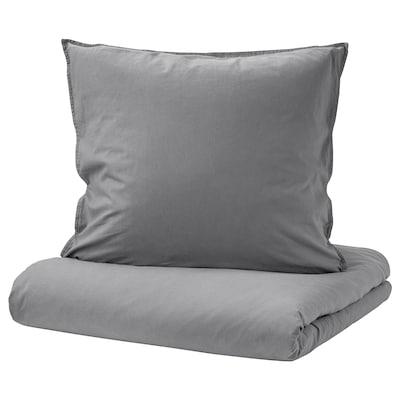 ÄNGSLILJA Housse de couette et 1 taie, gris, 150x200/65x65 cm