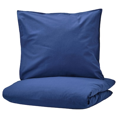 ÄNGSLILJA housse de couette et 2 taies bleu foncé 125 pouce carré  2 pièces 220 cm 240 cm 65 cm 65 cm