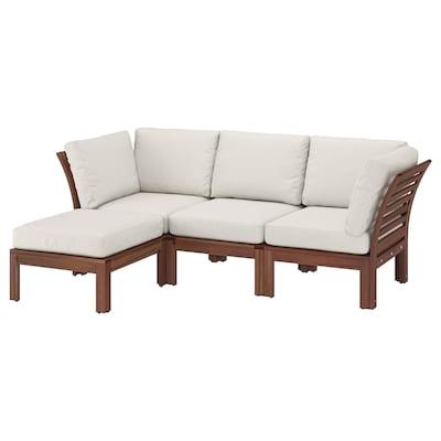 ÄPPLARÖ canapé 3pl modulable, extérieur avec repose-pied teinté brun/Frösön/Duvholmen beige 80 cm 84 cm 223 cm 143 cm 49 cm 40 cm