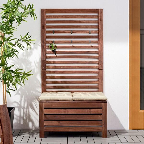 ÄPPLARÖ Banc av panneau, ext, teinté brun, 80x44x158 cm
