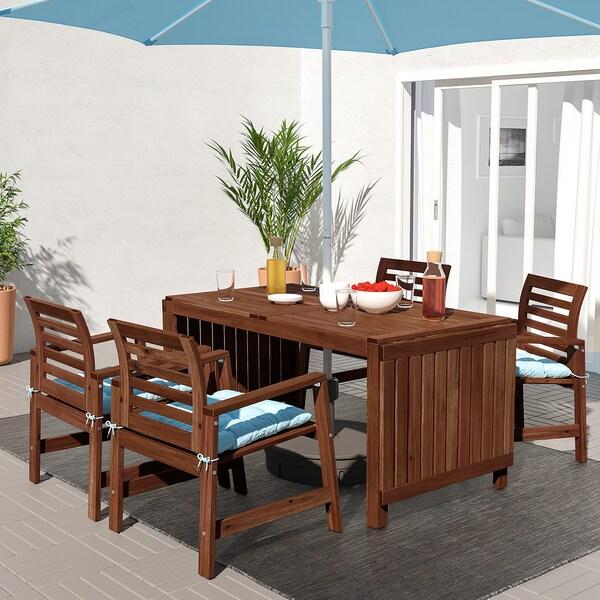 ÄPPLARÖ Table+4 chaises accoud, extérieur, teinté brun/Kuddarna bleu clair
