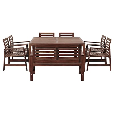 ÄPPLARÖ Table+6 chaises accoudoir+banc, ex, teinté brun