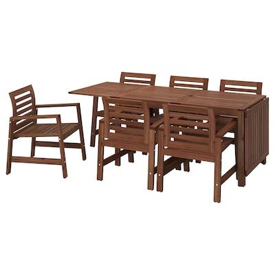 ÄPPLARÖ Table+6 chaises accoudoir, ext, teinté brun