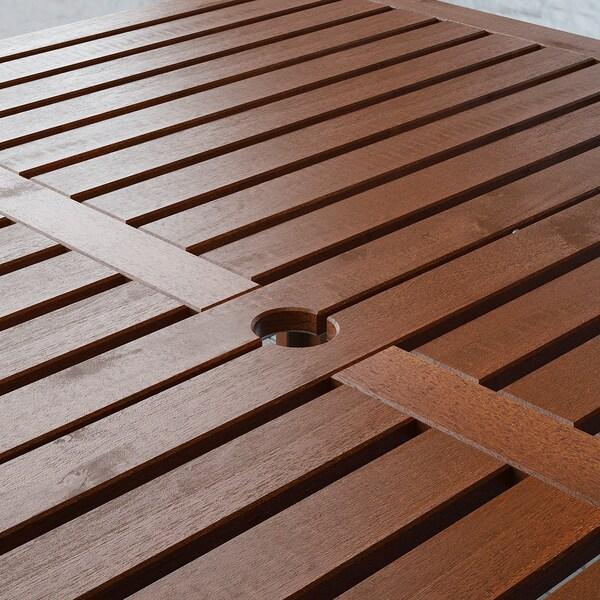 ÄPPLARÖ Table+8 chaises dossier réglable,ex, teinté brun/Kuddarna beige