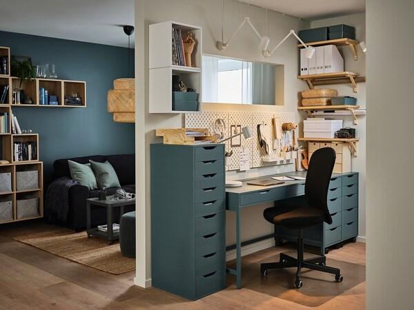 ALEX Caisson à tiroirs sur roulettes, blanc/noir, 36x76 cm