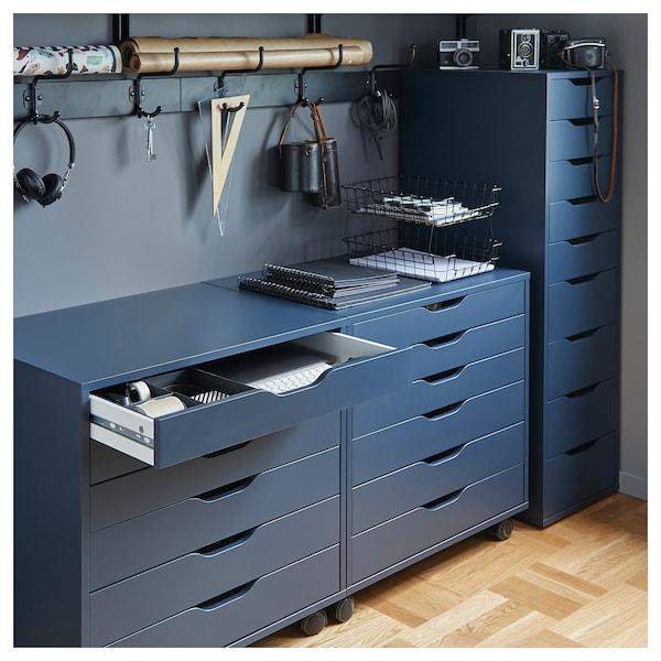 ALEX Caisson à tiroirs sur roulettes, bleu, 67x66 cm