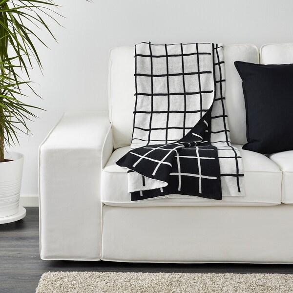 ALMALIE Plaid, noir/blanc, 130x170 cm