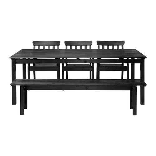 Ngs table 3 ch accoud banc ext rieur teint noir ikea for Banc exterieur ikea