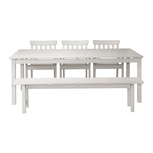 Ngs table 3 ch accoud banc ext rieur teint blanc ikea - Table avec banc cuisine ...
