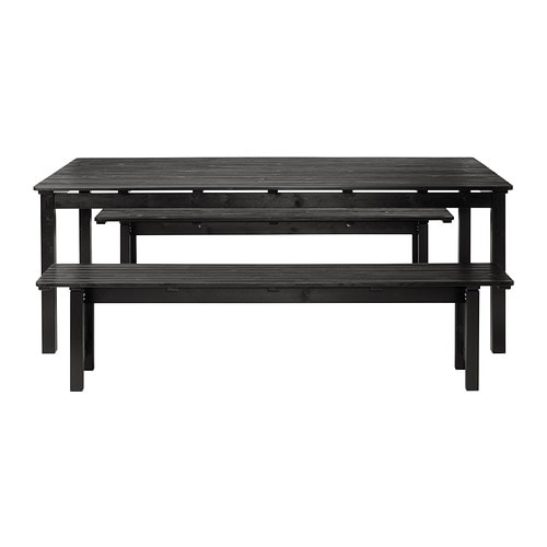 Ngs table 2 bancs ext rieur teint noir ikea for Ikea meubles exterieur