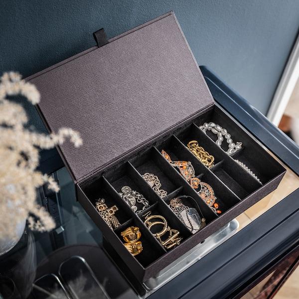 ANILINARE Range-bijoux à compartiments, brun foncé, 30x18x6 cm