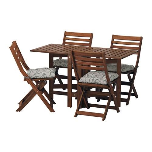 Pplar table 4 chaises pliantes ext rieur pplar teint brun steg n beig - Ikea chaises pliantes ...