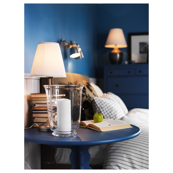 ÅRSTID Lampe de table, nickelé/blanc