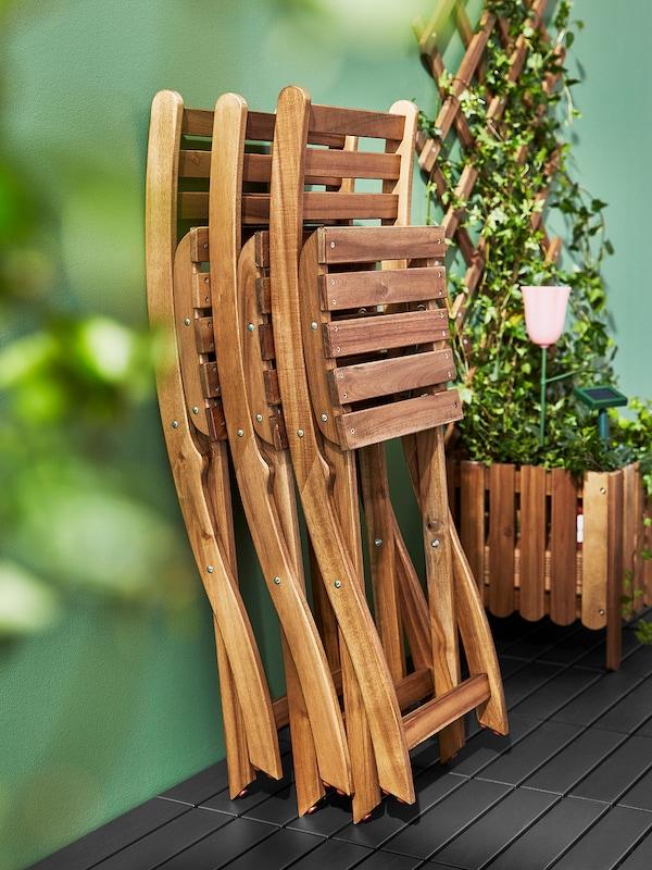 ASKHOLMEN Jardinière avec treillis, extérieur, teinté brun clair