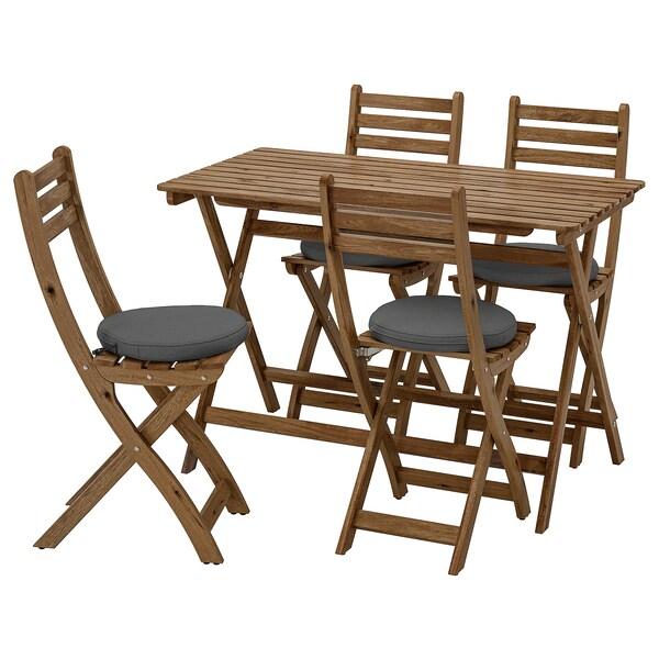ASKHOLMEN Table+4 chaises pliantes, extérieur, teinté gris brun/Frösön/Duvholmen gris foncé