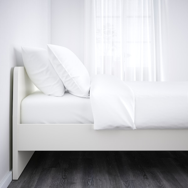 ASKVOLL Cadre de lit, blanc/Leirsund, 140x200 cm