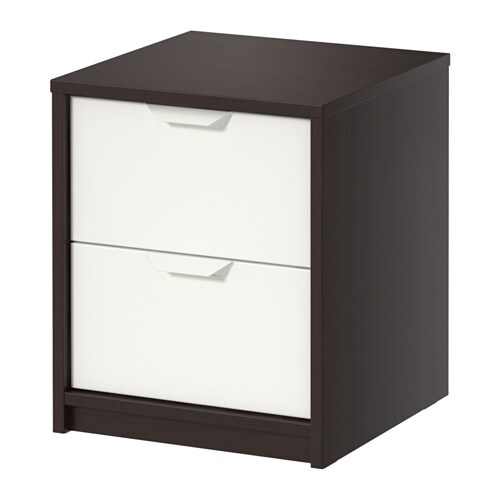 askvoll commode 2 tiroirs brun noir blanc ikea. Black Bedroom Furniture Sets. Home Design Ideas