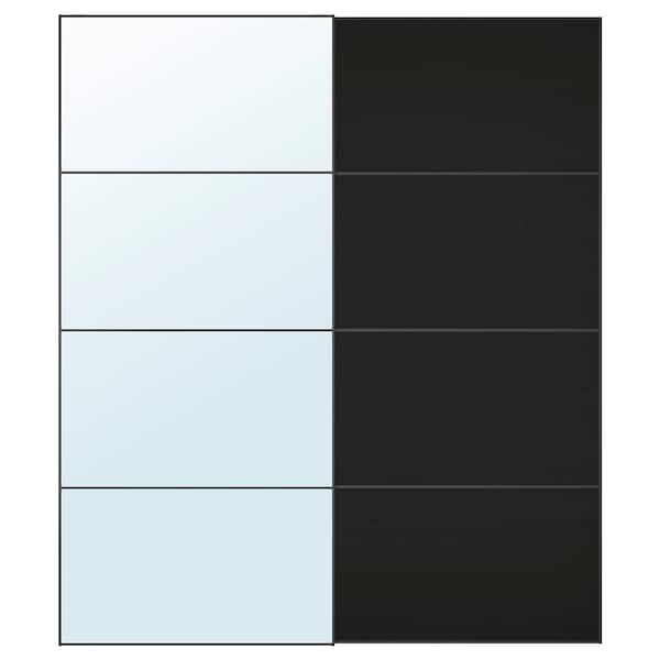 AULI / MEHAMN Jeu 2 ptes coul, miroir/motif frêne effet brun-noir, 200x236 cm
