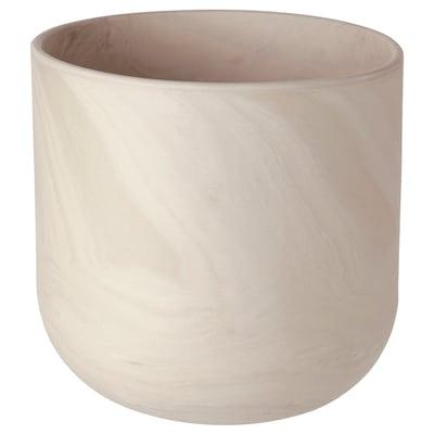BACKSMULTRON Cache-pot, intérieur/extérieur beige/gris, 19 cm