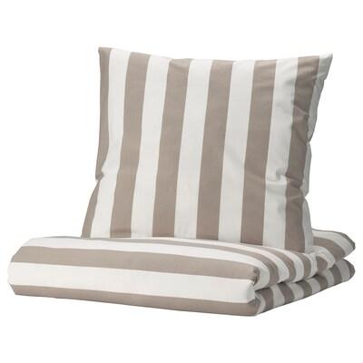 BÄRALM Housse de couette et 2 taies, blanc beige/rayure, 240x220/65x65 cm