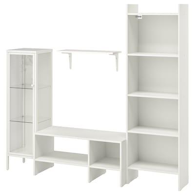 BAGGEBO Combinaison meuble TV, blanc métal, 174x35x160 cm