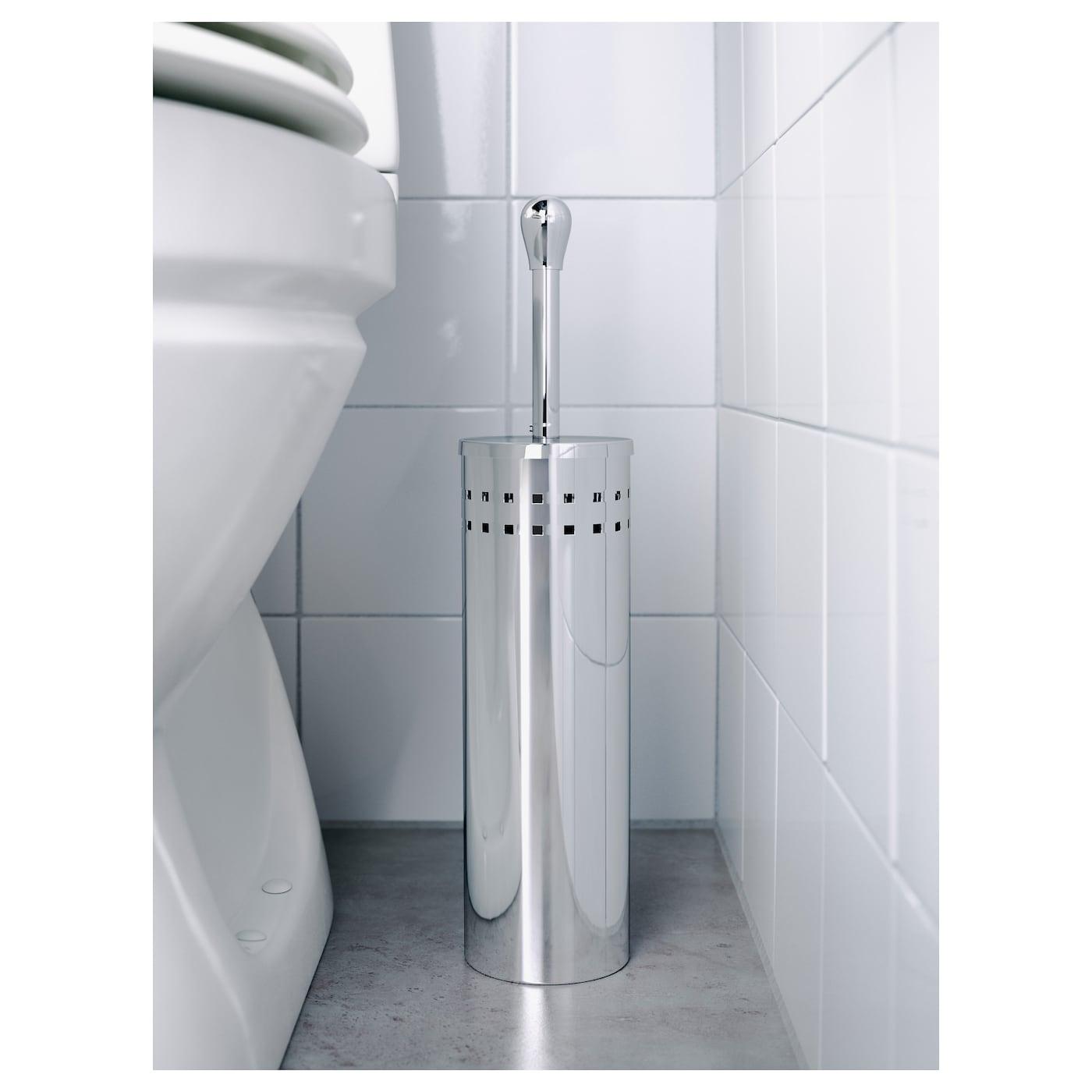 IKEA Baren brosse de toilette dans support en inox hauteur 43 cm diamètre 10 cm