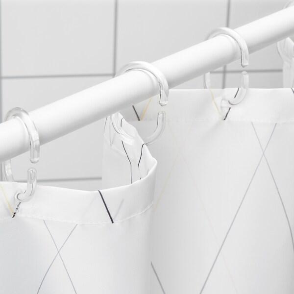 BASTSJÖN rideau de douche blanc jaune/mauve 200 cm 180 cm 3.60 m² 113 g/m²