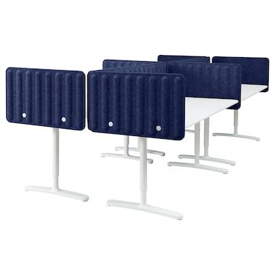 BEKANT Bureau avec panneau, blanc/bleu, 320x160 48 cm