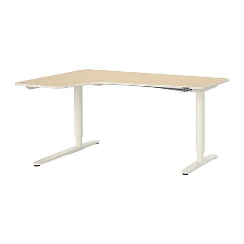 bekant bureau d 39 angle gch assis debout plaqu bouleau blanc ikea. Black Bedroom Furniture Sets. Home Design Ideas