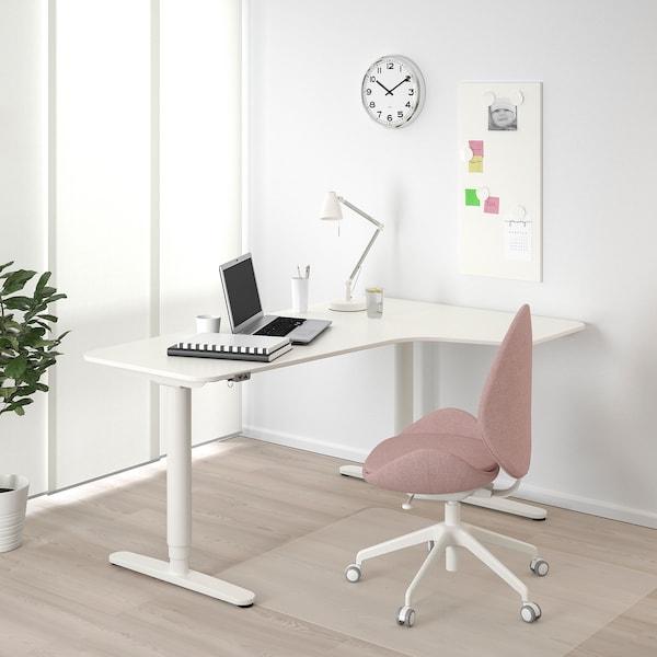 BEKANT Bureau d'angle droit assis/debout, blanc, 160x110 cm