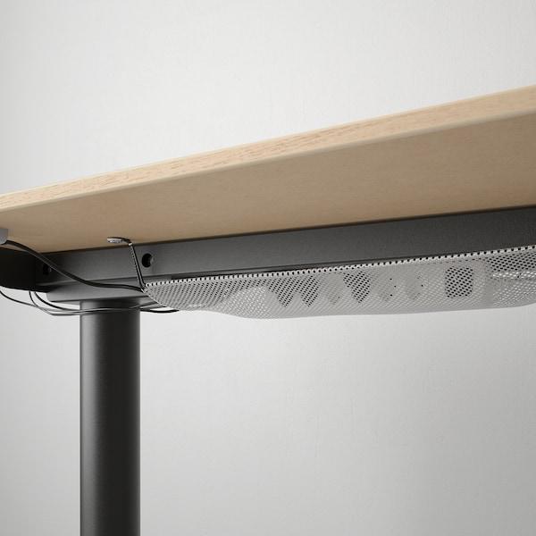 BEKANT Bureau d'angle droit assis/debout, plaqué chêne blanchi noir, 160x110 cm