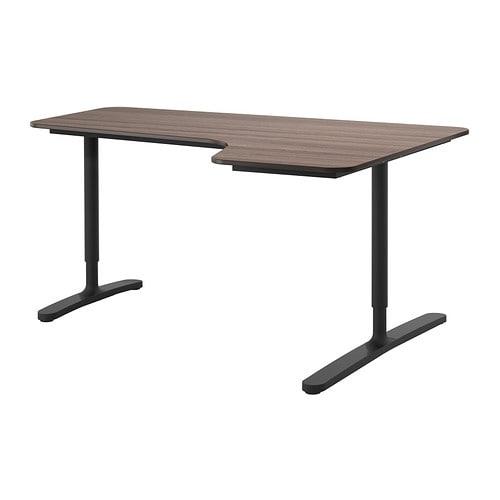 bekant bureau d 39 angle drt gris noir ikea. Black Bedroom Furniture Sets. Home Design Ideas