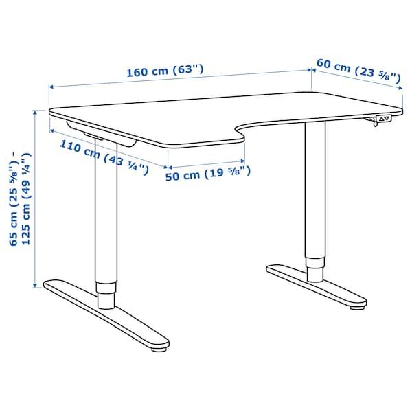 BEKANT Bureau d'angle gauche assis/debout, plaqué chêne blanchi/noir, 160x110 cm