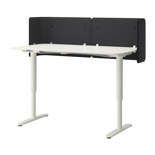 bekant bureau de r ception assis debout blanc ikea. Black Bedroom Furniture Sets. Home Design Ideas