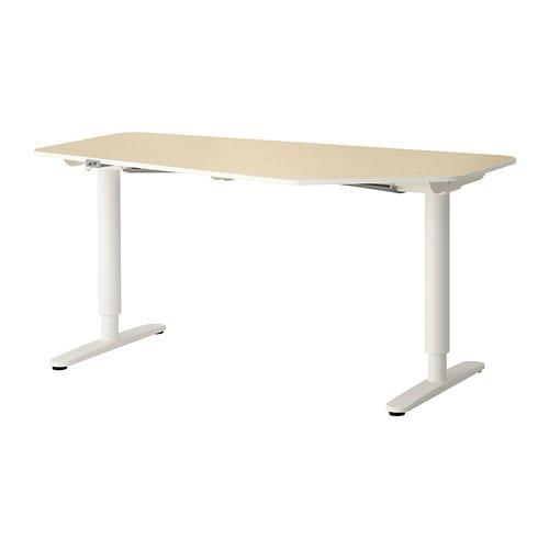 bekant bureau polygone assis debout plaqu bouleau blanc ikea. Black Bedroom Furniture Sets. Home Design Ideas