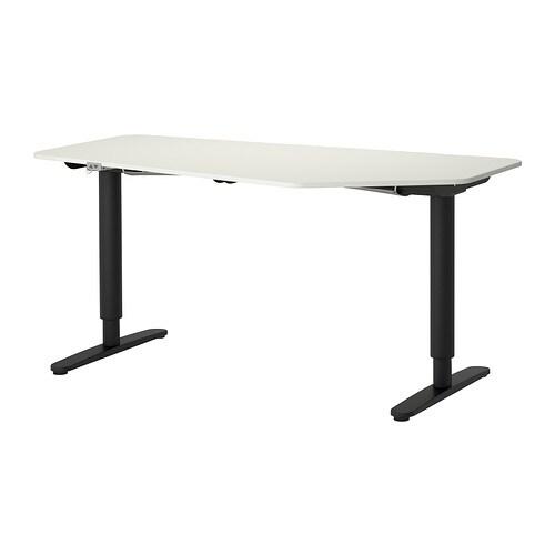 bekant bureau polygone assis debout blanc noir ikea. Black Bedroom Furniture Sets. Home Design Ideas