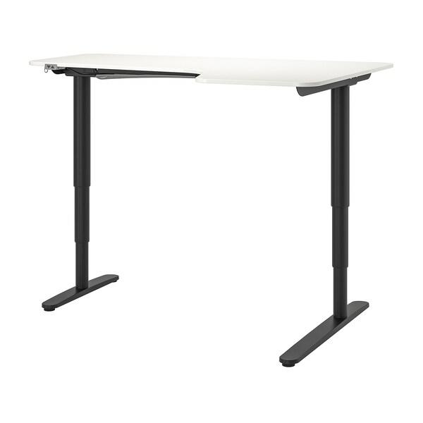 bekant bureau d 39 angle dr assis debout blanc noir ikea
