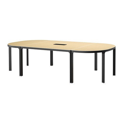 bekant table conf rence plaqu bouleau noir ikea. Black Bedroom Furniture Sets. Home Design Ideas
