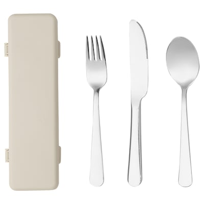 BERÄTTIGAD Couteau/fourchette/cuillère av étui, acier inoxydable/plastique
