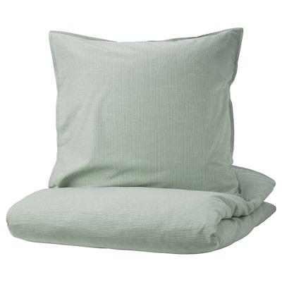BERGPALM Housse de couette et 2 taies, vert/rayure, 240x220/65x65 cm