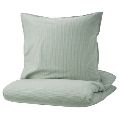 BERGPALM Housse de couette et taie, vert/rayure, 150x200/65x65 cm