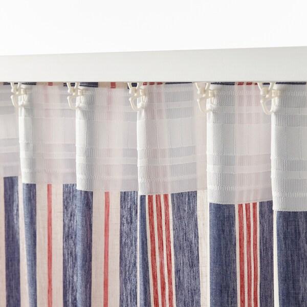 BERGSKRABBA rideaux, 2 pièces bleu/rouge rayé 300 cm 145 cm 1.27 kg 4.35 m² 2 pièces