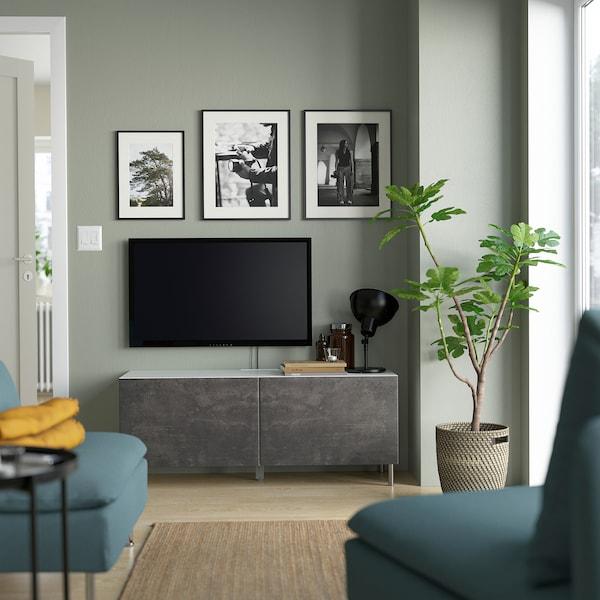 BESTÅ Banc TV avec portes, blanc/Kallviken/Ösarp gris foncé, 120x42x48 cm