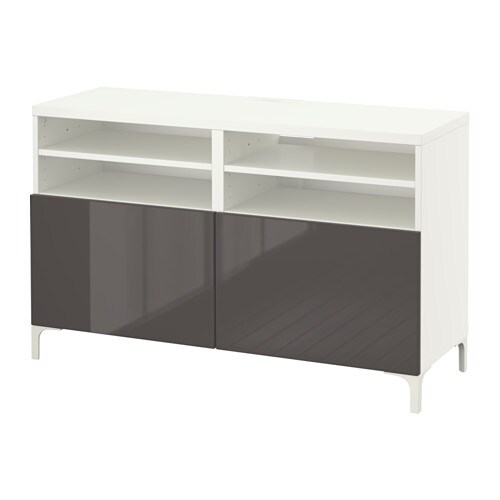 best banc tv avec portes blanc selsviken brillant gris ikea. Black Bedroom Furniture Sets. Home Design Ideas