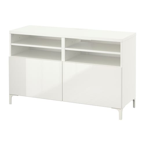best banc tv avec portes blanc selsviken brillant blanc. Black Bedroom Furniture Sets. Home Design Ideas